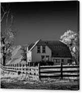 House And Cottonwoods Canvas Print