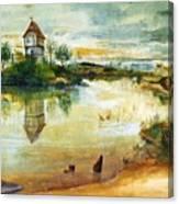 House By A Pond Canvas Print