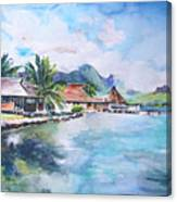House By The Lagoon In French Polynesia Canvas Print