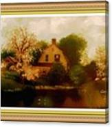House Near The River. L A With Decorative Ornate Printed Frame. Canvas Print