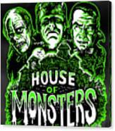 House Of Monsters Frankenstein Dracula Phantom Horror Movie Art Canvas Print