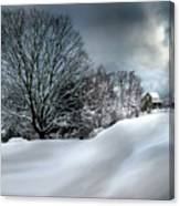 House On The Hill Winters In Vermont Canvas Print