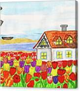 House With Tulips  In Holland Painting Canvas Print