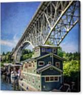 Houseboat And Aurora Bridge Seattle Canvas Print