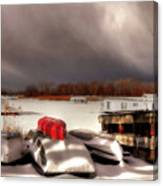 Houseboats In Winter Canvas Print