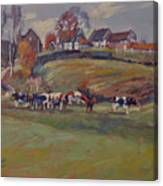 Houses And Cows In Schweiberg Canvas Print