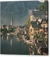 Houses Line The Lake Of Hallstatt Canvas Print