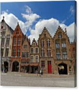 Houses Of Jan Van Eyck Square In Bruges Belgium Canvas Print