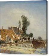 Houses On A Waterway Near Crooswijk Canvas Print