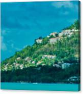 Houses On Hillside In St Lucia Canvas Print