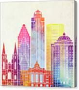 Houston Landmarks Watercolor Poster Canvas Print