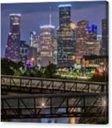 Houston Skyline Over Buffalo Bayou At Twilight Canvas Print