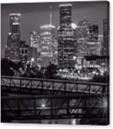 Houston Skyline With Rosemont Bridge In Bw Canvas Print