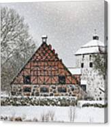 Hovdala Castle Gatehouse And Stables In Winter Canvas Print