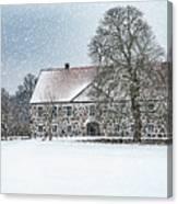 Hovdala Castle Main House In Winter Canvas Print