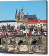 Hradcany - Cathedral Of St Vitus And Charles Bridge Canvas Print