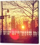 Hudson River Winter Sunset Canvas Print