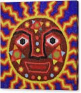 Huichol Beadwork Sun Mexico Canvas Print