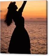 Hula At Sunset Canvas Print