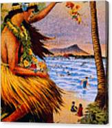 Hula Flower Girl 1915 Canvas Print