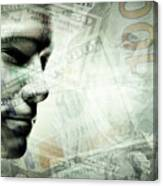 Human Man Face And Dollars Double Exposure. Canvas Print