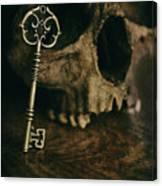 Human Skull With Vintage Key Canvas Print