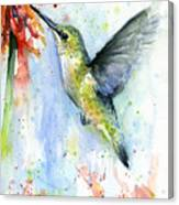 Hummingbird And Red Flower Watercolor Canvas Print