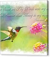 Hummingbird With Bible Verse Canvas Print