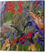 Hummingbirds 2, Abstract Art Canvas Print