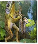 Humorous Frog Plying Saxophone Canvas Print