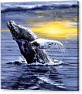 Humpback Whale Breaching Canvas Print