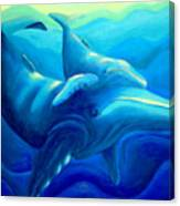 Humpback With Calf Canvas Print