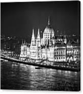 Hungarian Parliament Night Bw Canvas Print