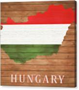 Hungary Rustic Map On Wood Canvas Print
