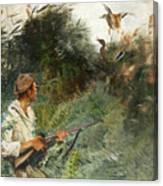 Hunter And Mallards Canvas Print