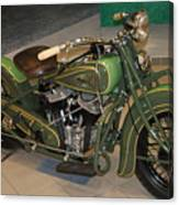 Hunter Green Indian Motorcycle...   # Canvas Print