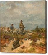 Hunters By A Fox-hole Canvas Print