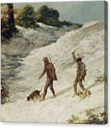 Hunters In The Snow Or The Poachers Canvas Print