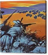 Hunting Buffalo In America Canvas Print