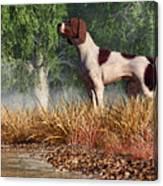 Hunting Dog By A River Canvas Print
