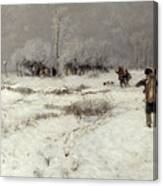 Hunting In The Snow Canvas Print