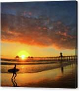 Huntington Beach Pier Sunset Canvas Print