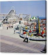 Hunts Pier On The Wildwood New Jersey Boardwalk, Copyright Aladdin Color Inc. Canvas Print