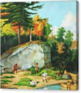 Huron's At A Portage Preparing To Camp Canvas Print