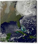 Hurricane Sandy Battering The United Canvas Print