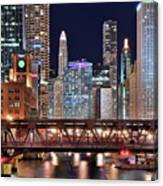 Hustle And Bustle Night Lights In Chicago Canvas Print