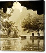 Hut In Tam Coc From A Cave River Canvas Print