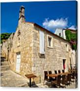 Hvar Old Stone Church And Antic Steps Canvas Print