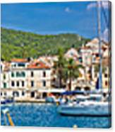 Hvar Yachting Harbor And Historic Architecture Panoramic  Canvas Print
