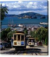 Hyde Street Cable Car Line And San Francisco Bay Canvas Print